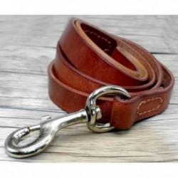 Laisse pour chien en cuir fait main, marron ou noir en 2 tailles